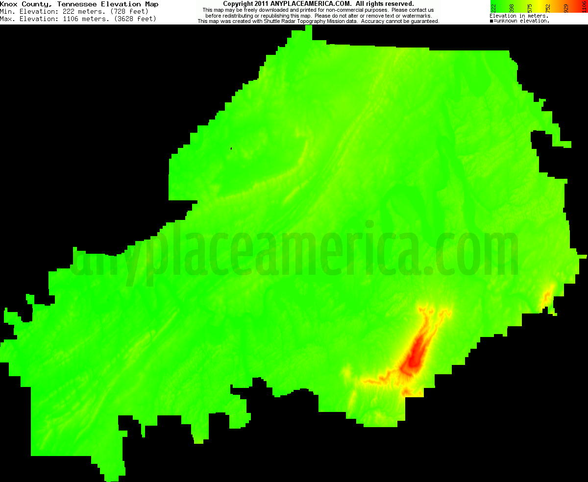 Tn Elevation Map.Free Knox County Tennessee Topo Maps Elevations