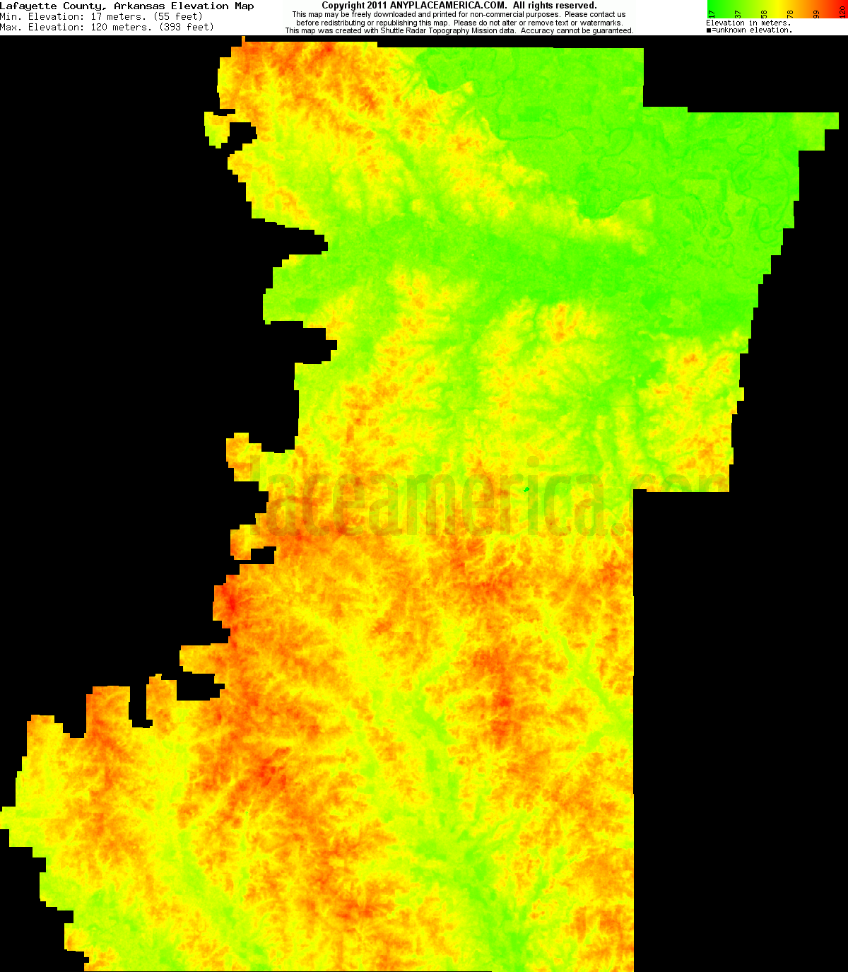 Elevation Of Washington County Ar Usa: Free Lafayette County, Arkansas Topo Maps & Elevations