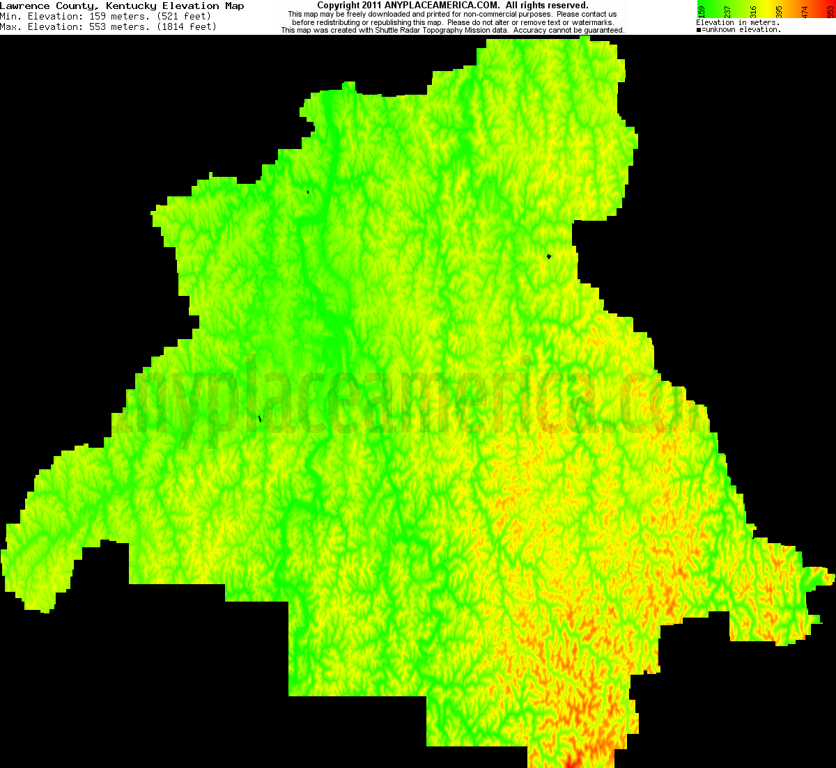 Download Lawrence County Elevation Map
