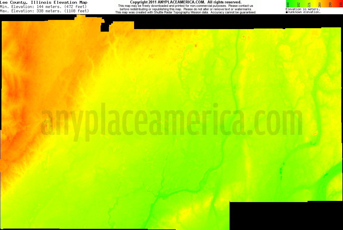 Illinois lee county lee - Download Lee County Elevation Map