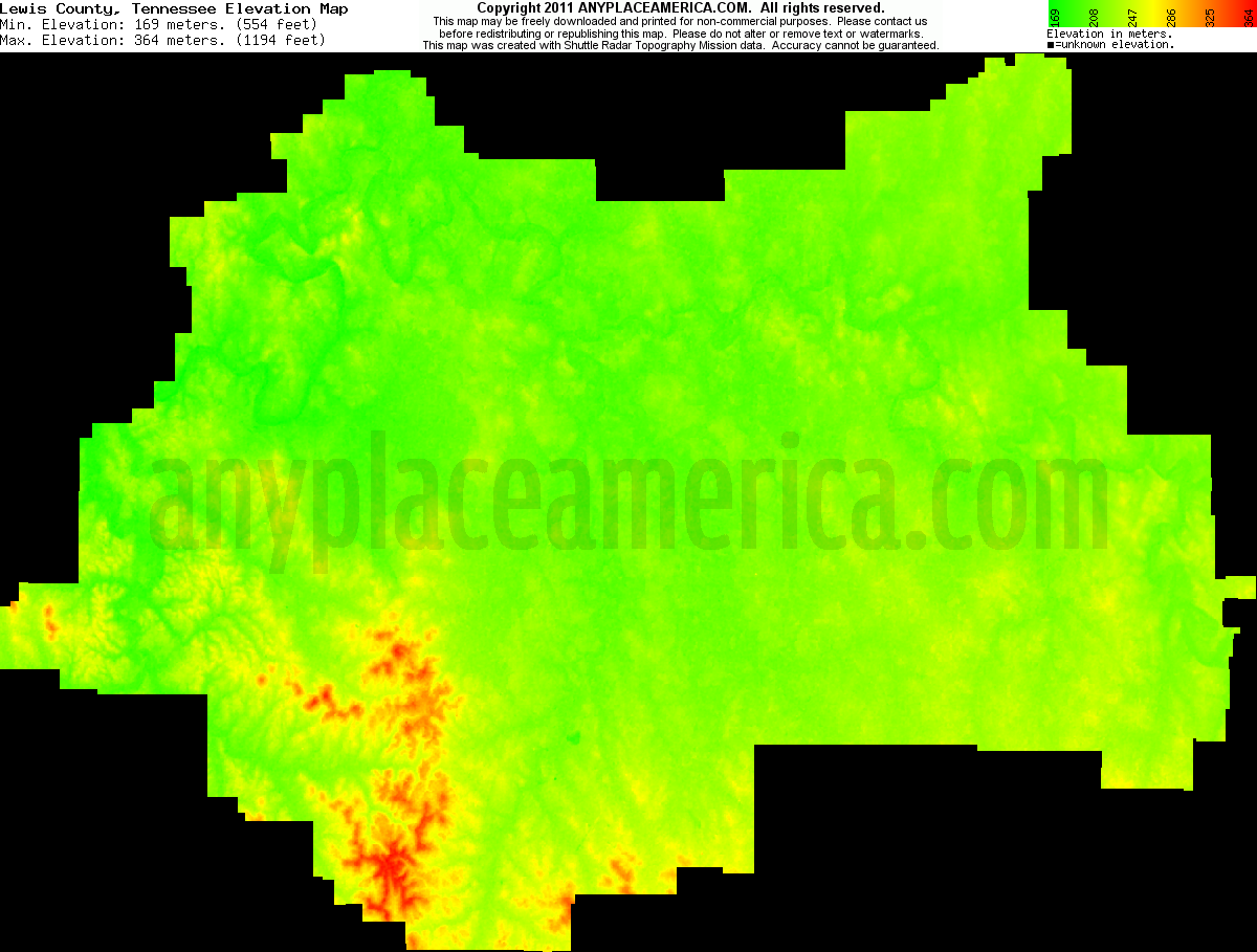 Download Lewis County Elevation Map