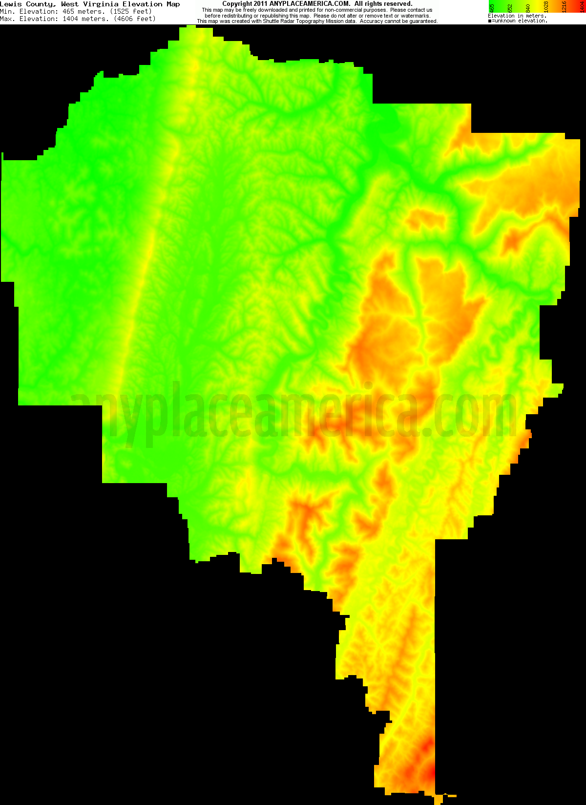 Free Lewis County West Virginia Topo Maps Amp Elevations