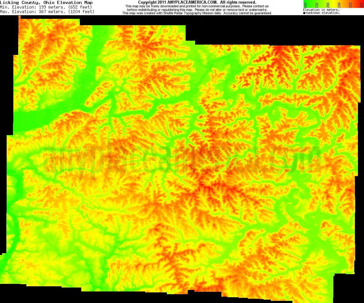 Download Licking County Elevation Map
