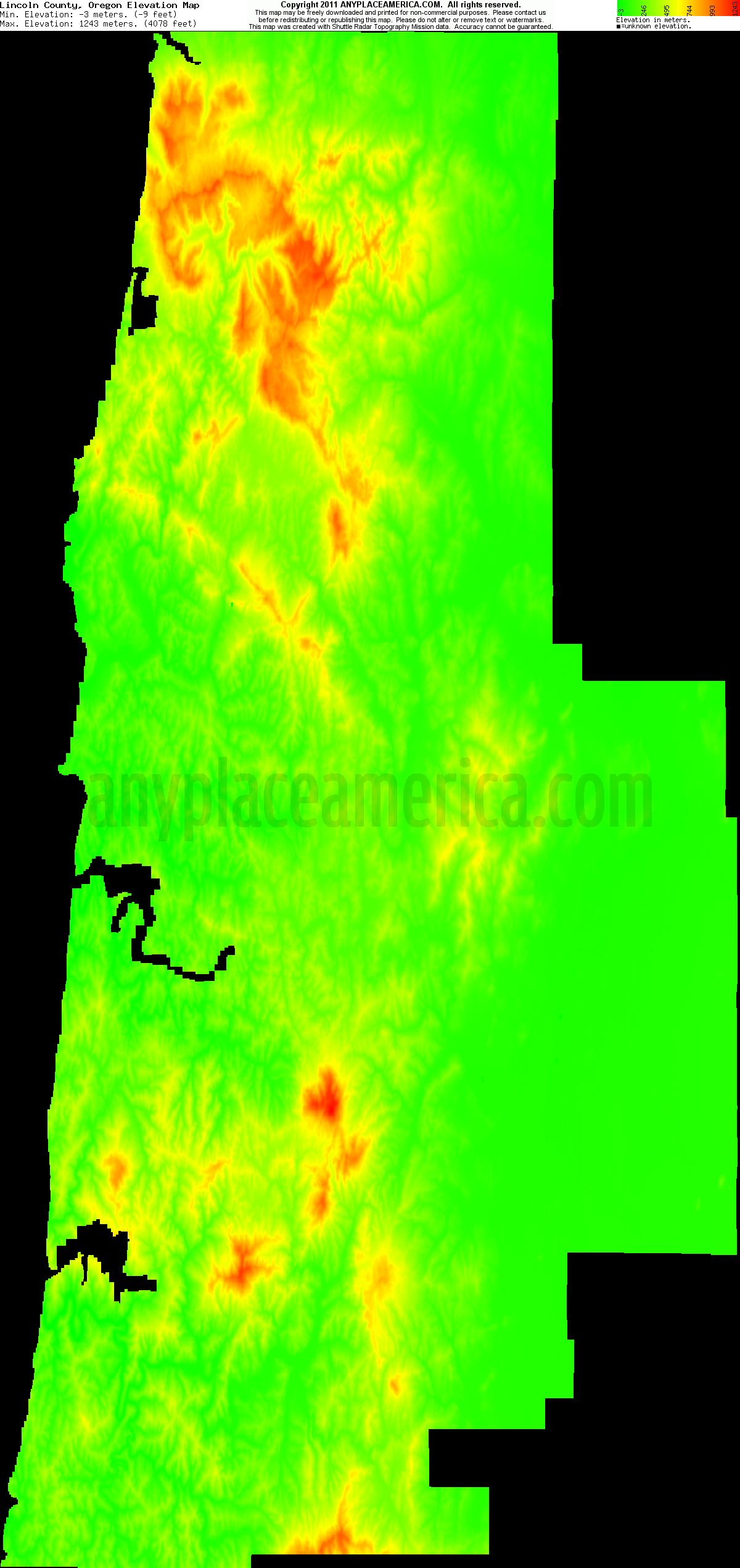 Free Lincoln County Oregon Topo Maps Elevations