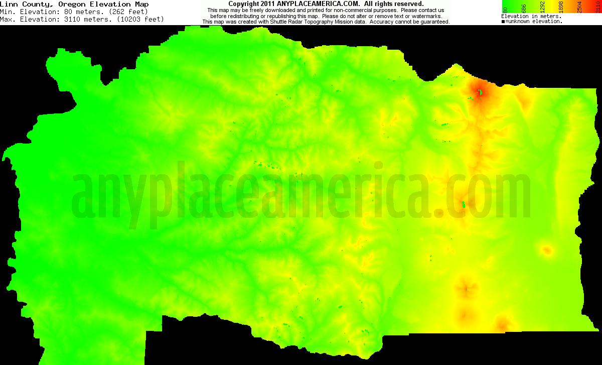 Download Linn County Elevation Map