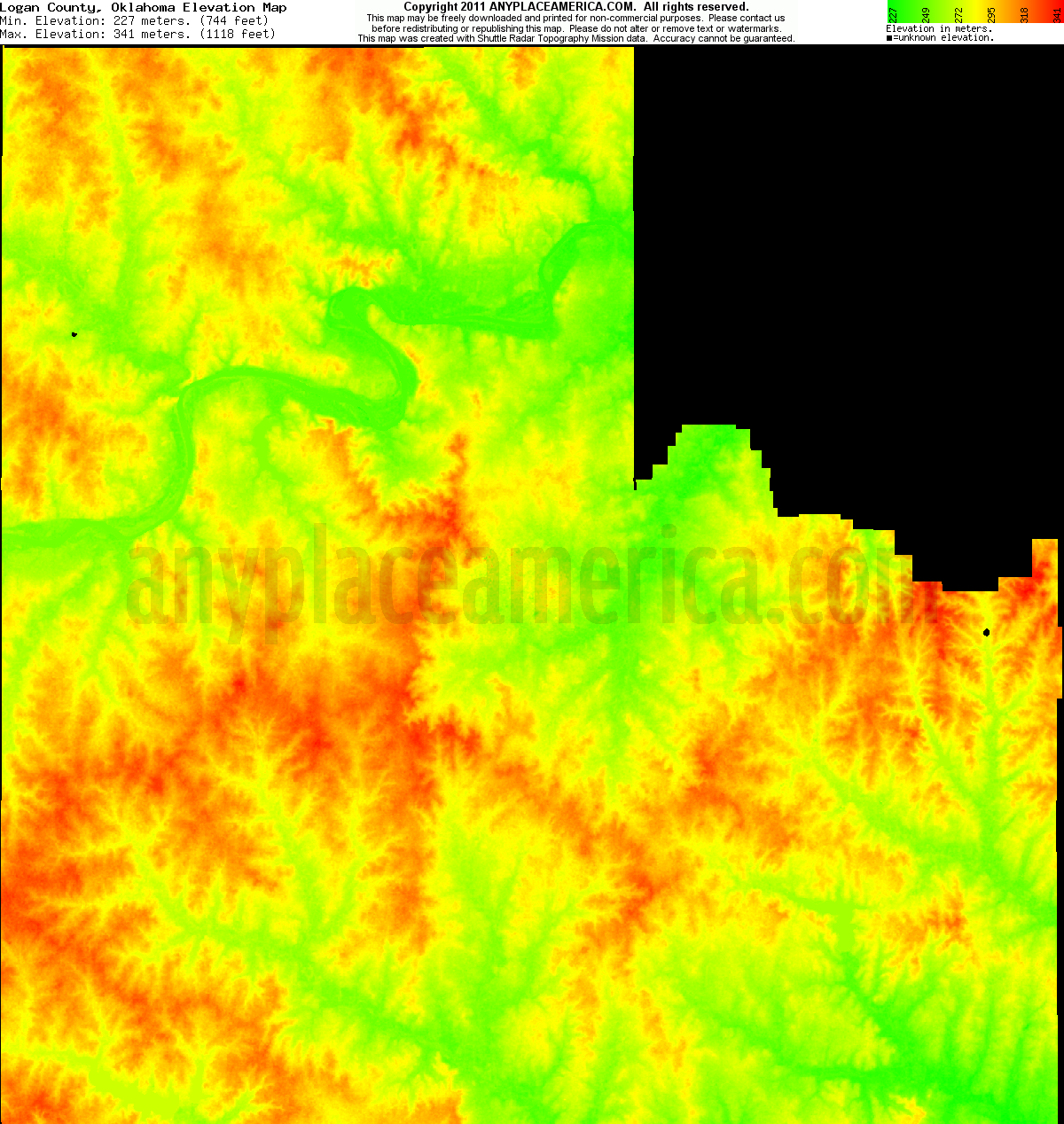 Logan, Oklahoma elevation map