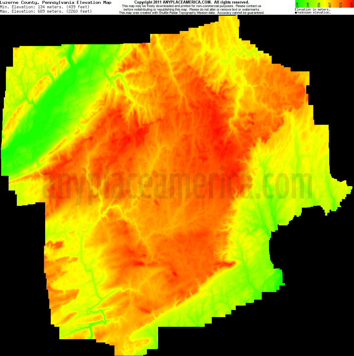 Download Luzerne County Elevation Map