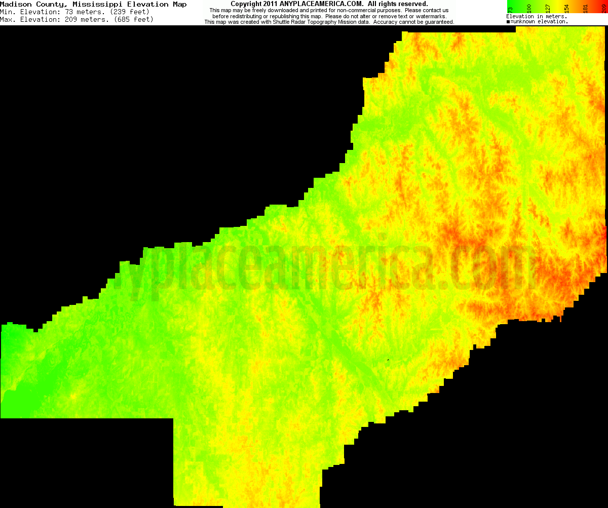 Topographic Map Mississippi.Free Madison County Mississippi Topo Maps Elevations