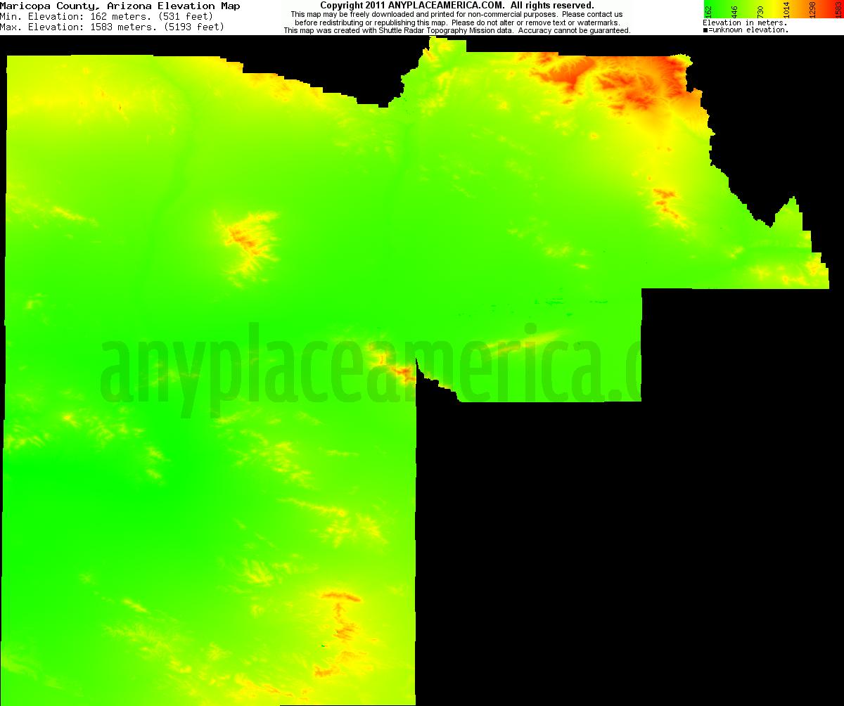 Free Maricopa County, Arizona Topo Maps & Elevations