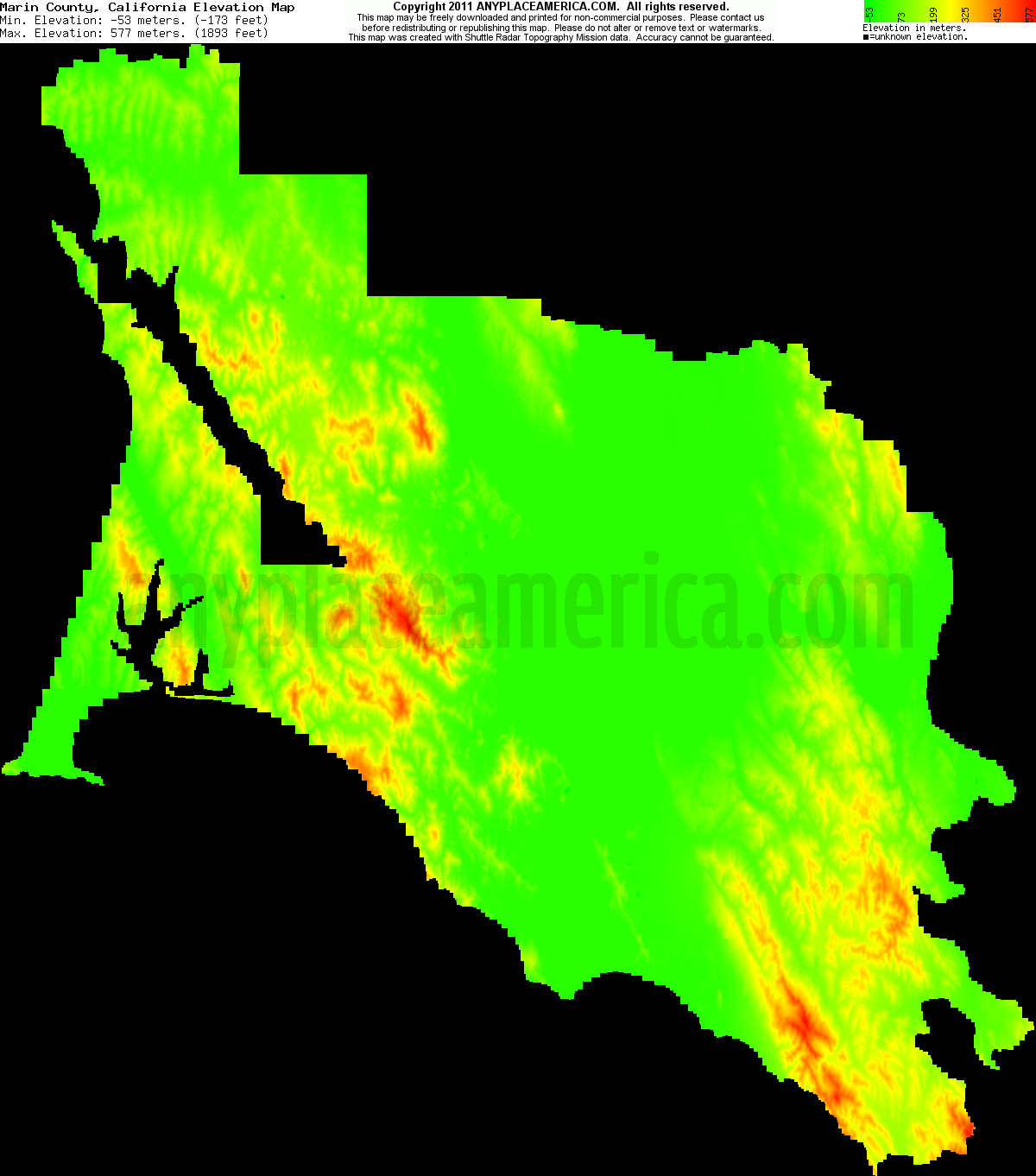 Free Marin County California Topo Maps Elevations - Elevation map of california