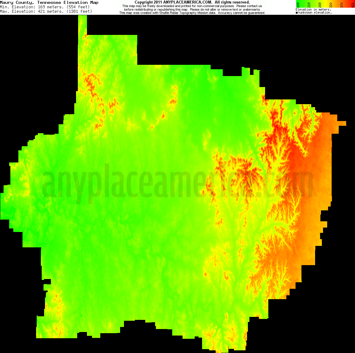 Maury, Tennessee elevation map