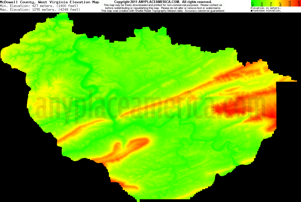Topographic Map West Virginia.Free Mcdowell County West Virginia Topo Maps Elevations