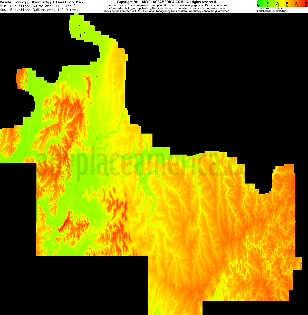 Meade, Kentucky elevation map