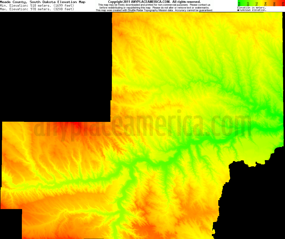 South dakota meade county howes - Download Meade County Elevation Map