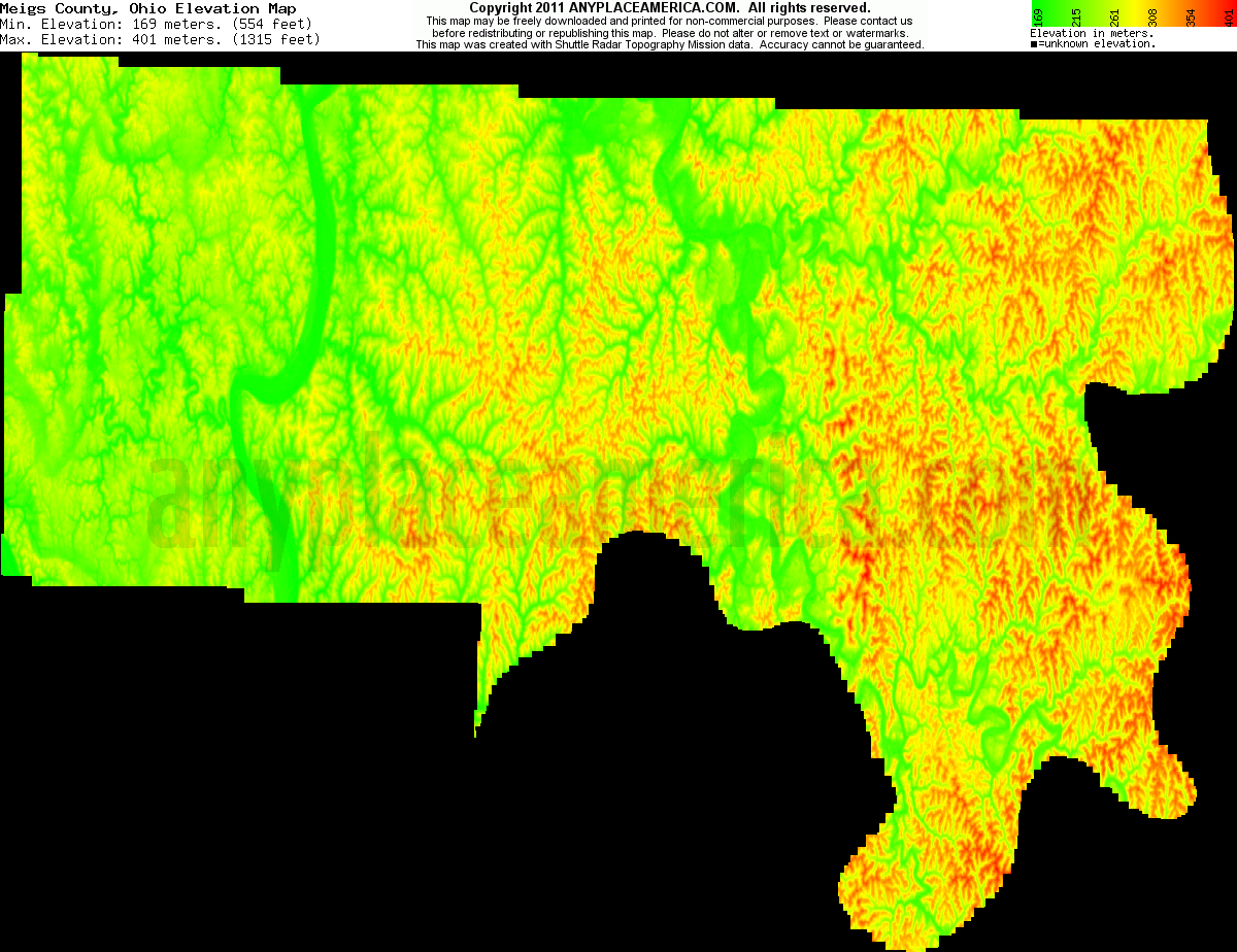 Free Meigs County Ohio Topo Maps Elevations - Map of us elevation