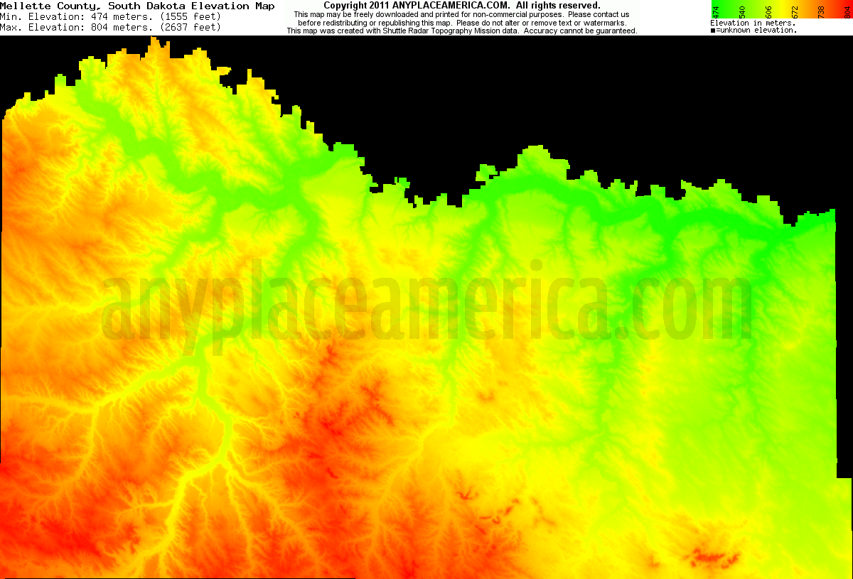 Mellette, South Dakota elevation map