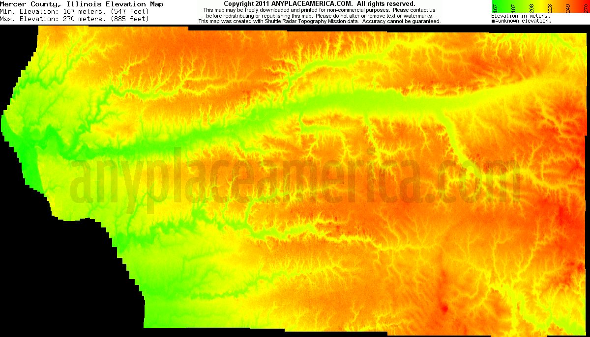 Illinois mercer county keithsburg - Download Mercer County Elevation Map