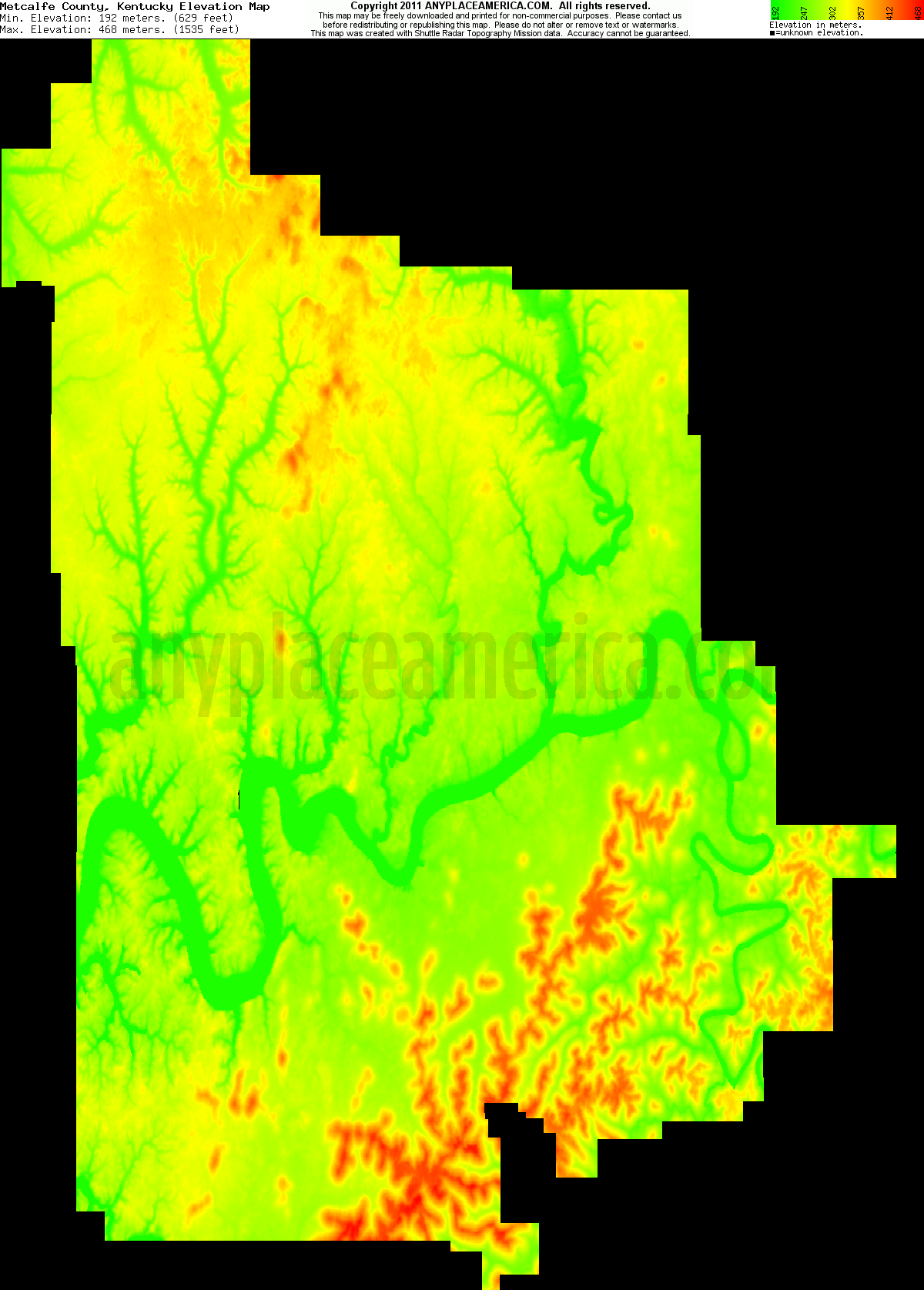 Metcalfe, Kentucky elevation map