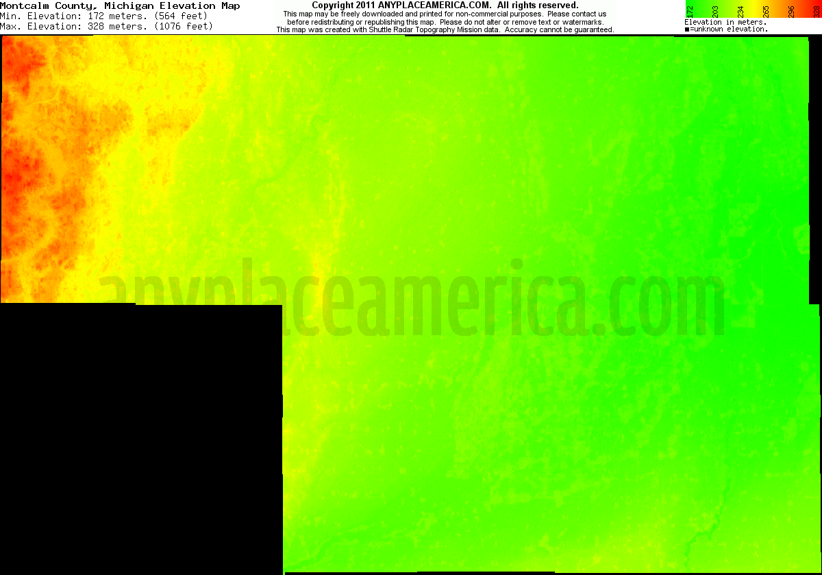 Michigan montcalm county crystal - Download Montcalm County Elevation Map