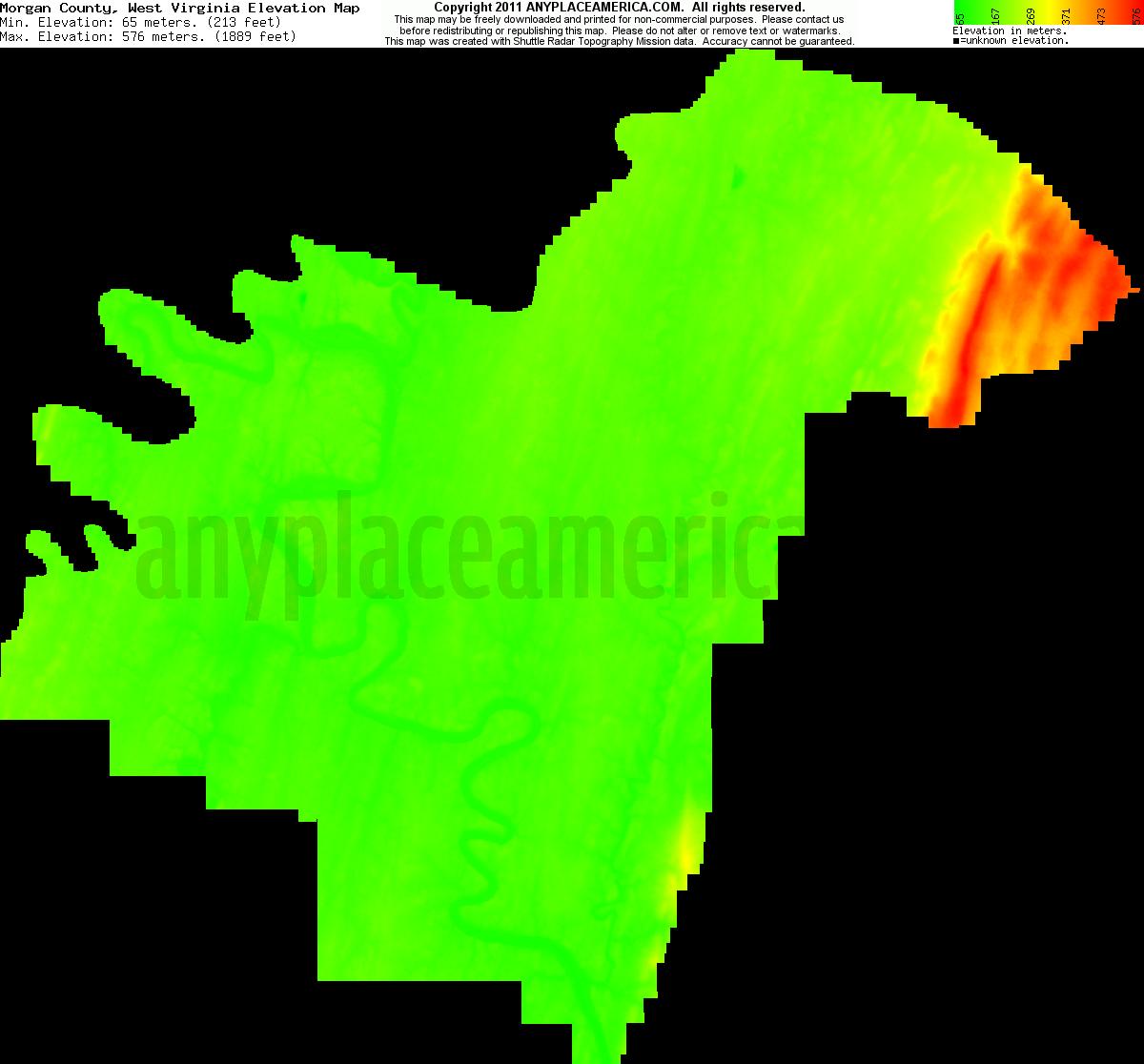Free Morgan County, West Virginia Topo Maps & Elevations