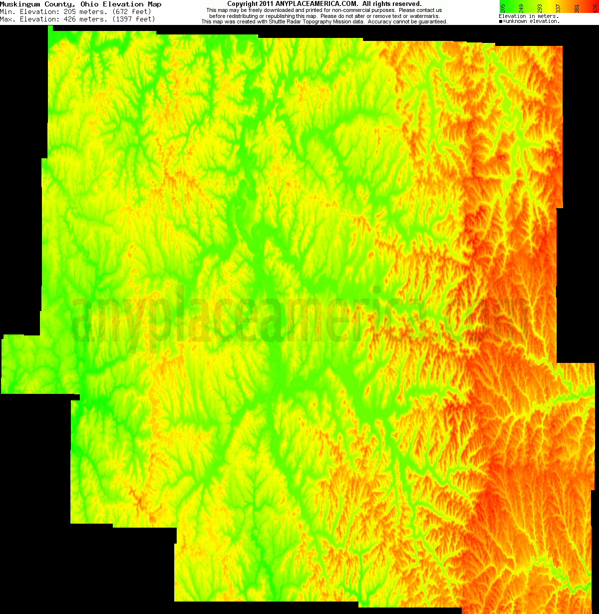 Ohio muskingum county norwich - Download Muskingum County Elevation Map
