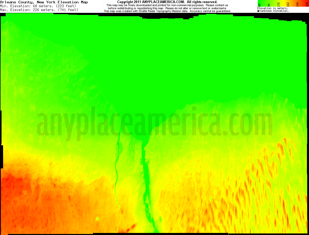 New york orleans county - Download Orleans County Elevation Map