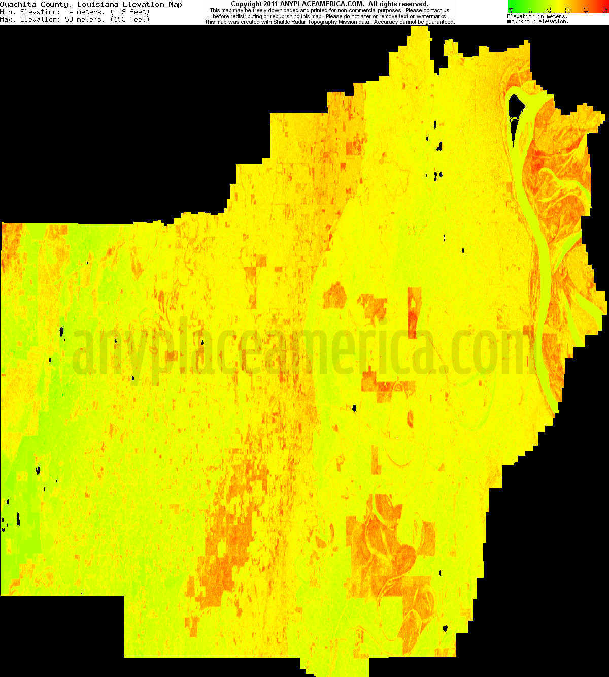 Free Ouachita Parish Louisiana Topo Maps Elevations