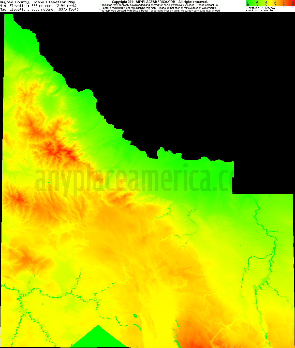 Owyhee, Idaho elevation map