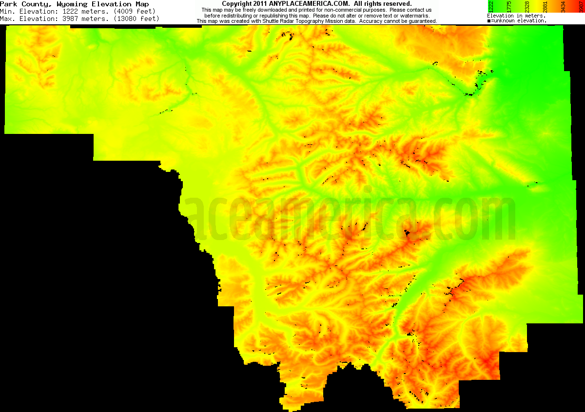 Download Park County Elevation Map