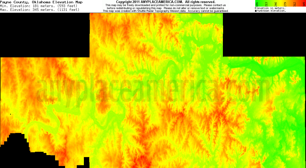 Download Payne County Elevation Map
