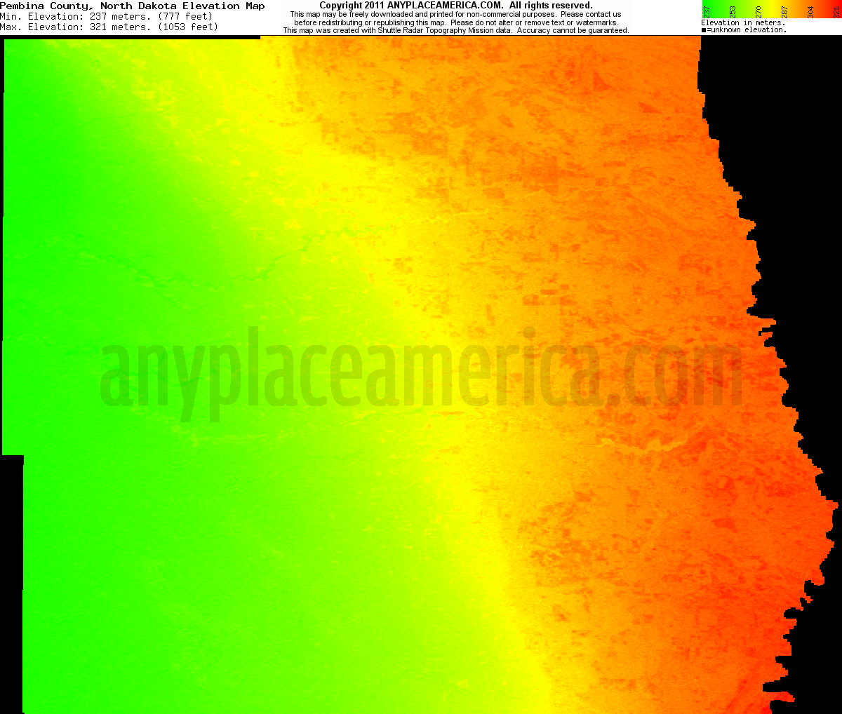 North dakota pembina county cavalier - Download Pembina County Elevation Map