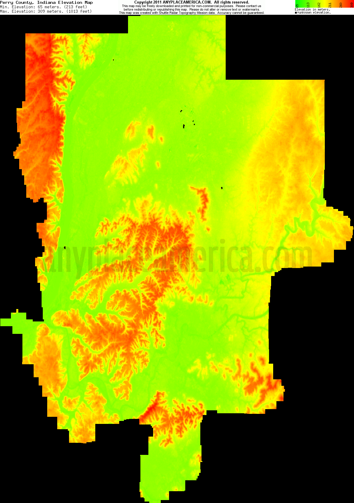 Indiana perry county bristow - Download Perry County Elevation Map