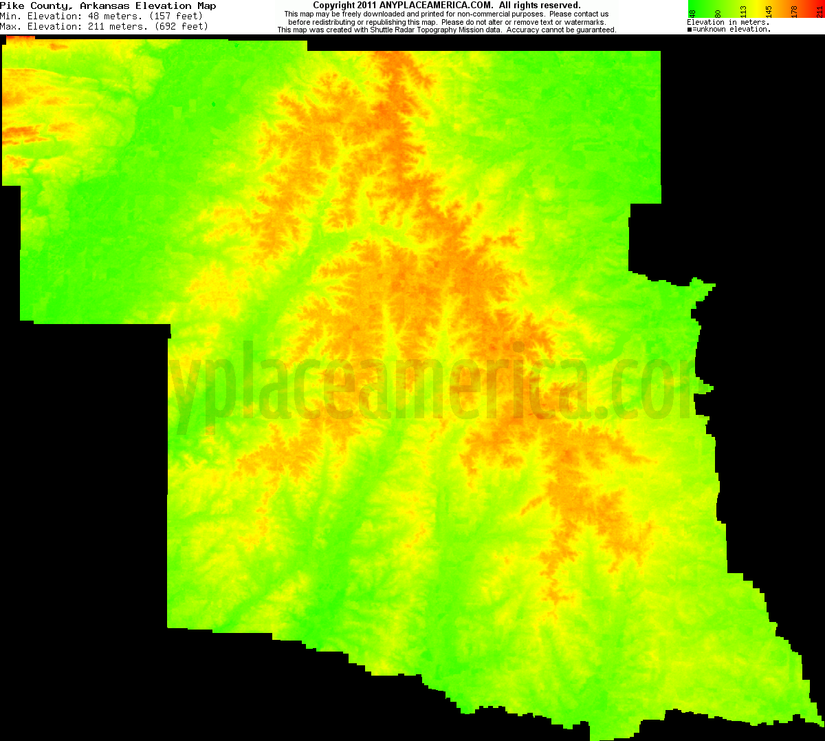 Download Pike County Elevation Map