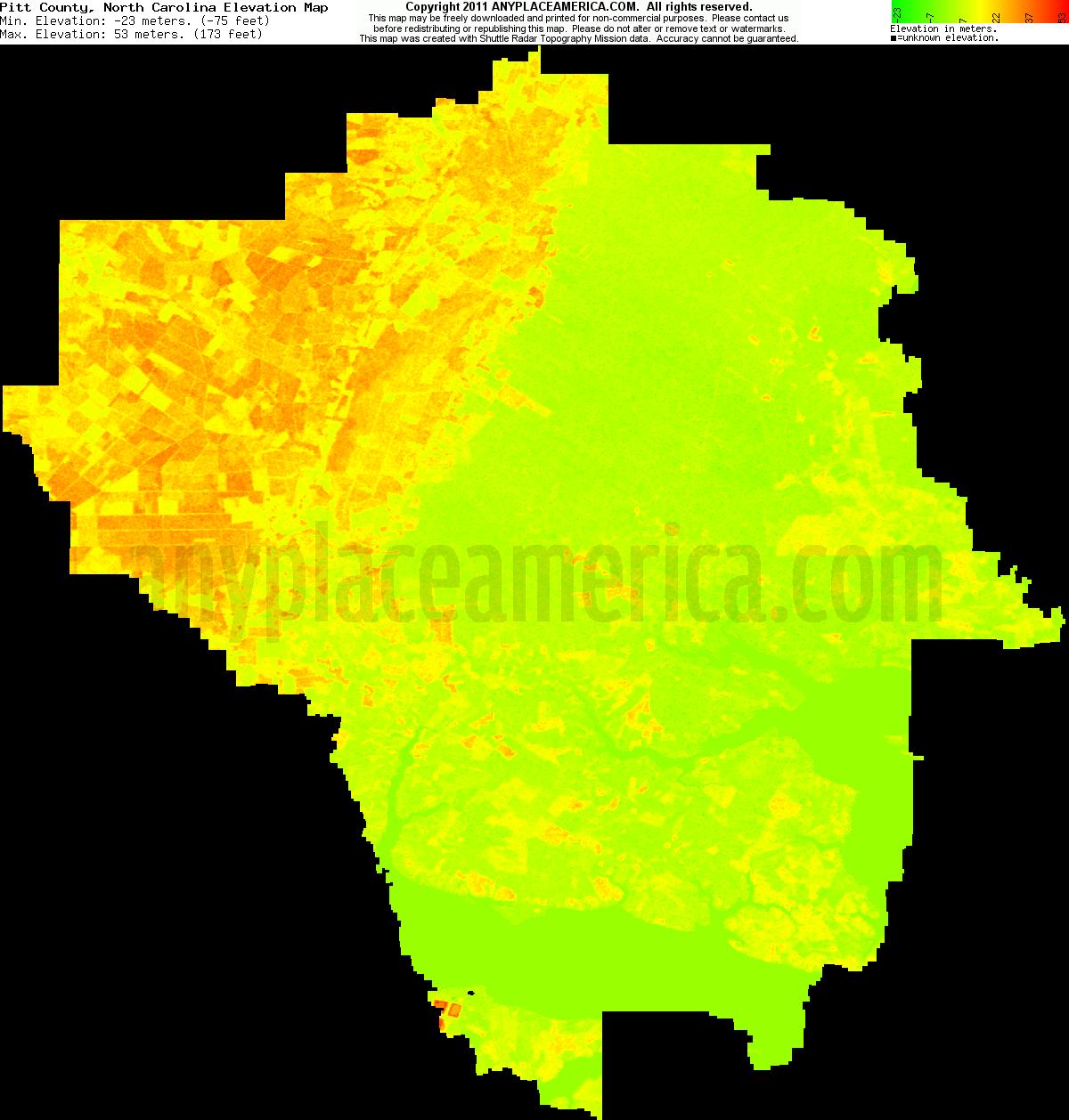 Free Pitt County North Carolina Topo Maps Elevations