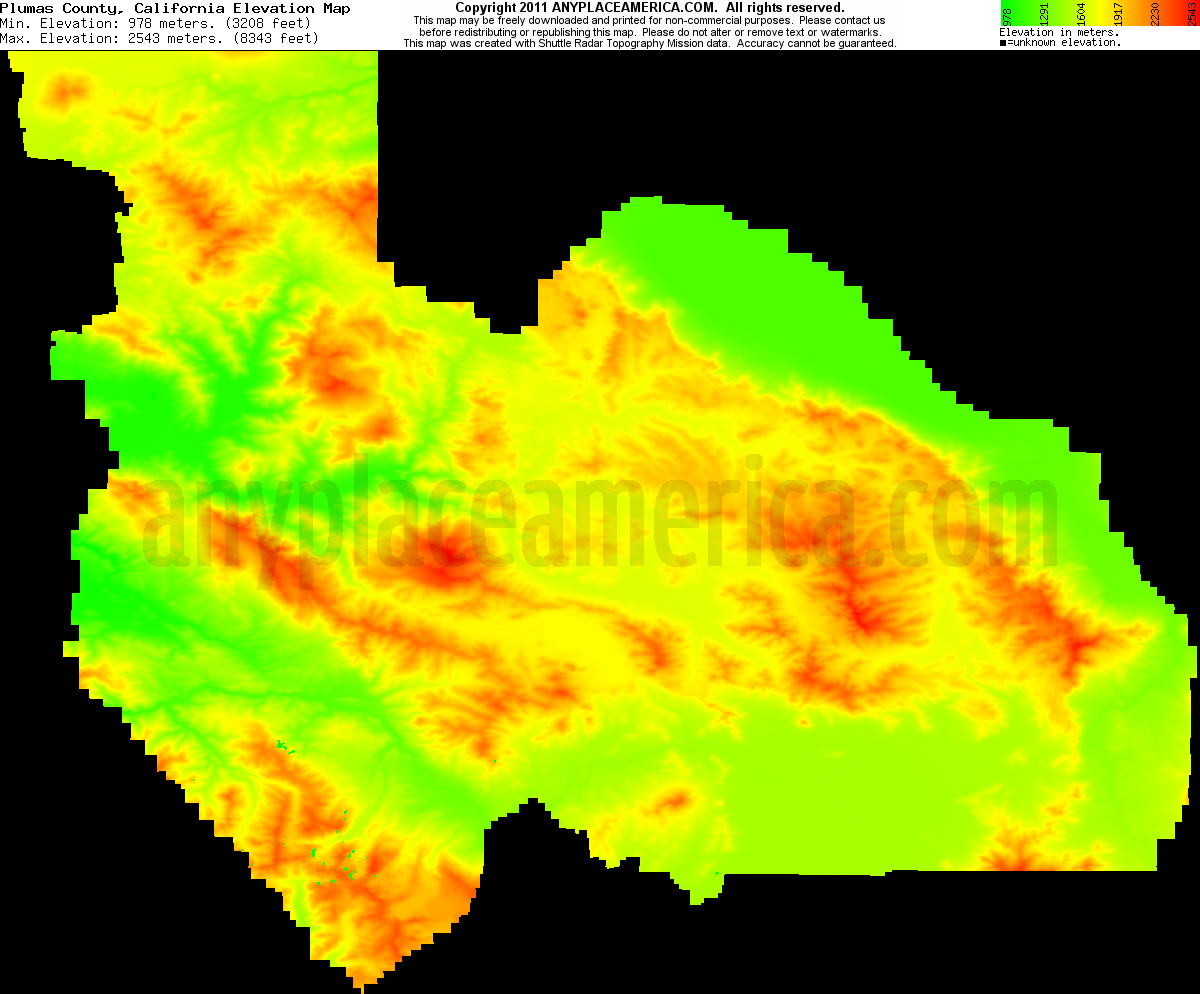 Free Plumas County California Topo Maps Elevations - Elevation map of california