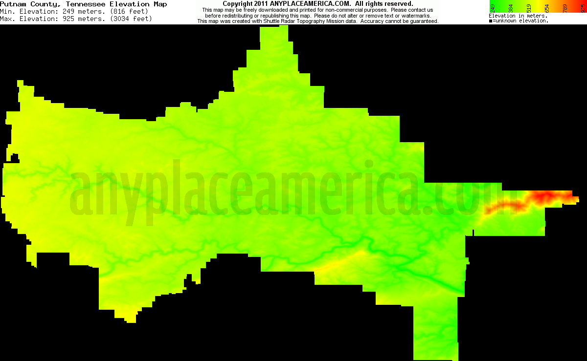 Tennessee putnam county monterey - Download Putnam County Elevation Map