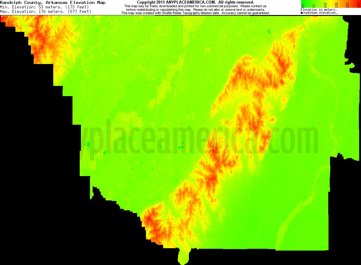 Free Arkansas Topographic Map.Free Randolph County Arkansas Topo Maps Elevations