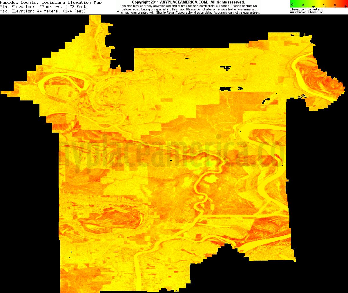 Free Rapides Parish Louisiana Topo Maps Elevations