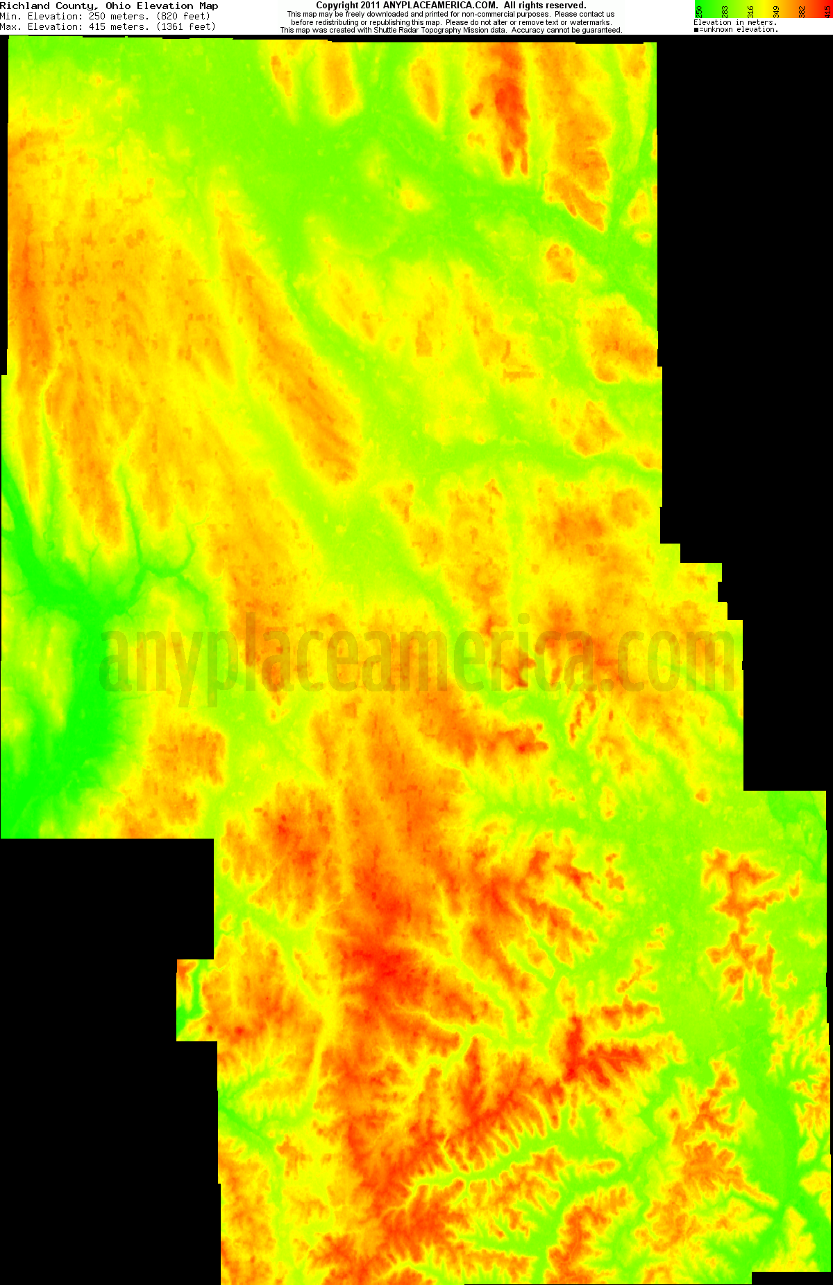 Topography Map Of Ohio.Free Richland County Ohio Topo Maps Elevations