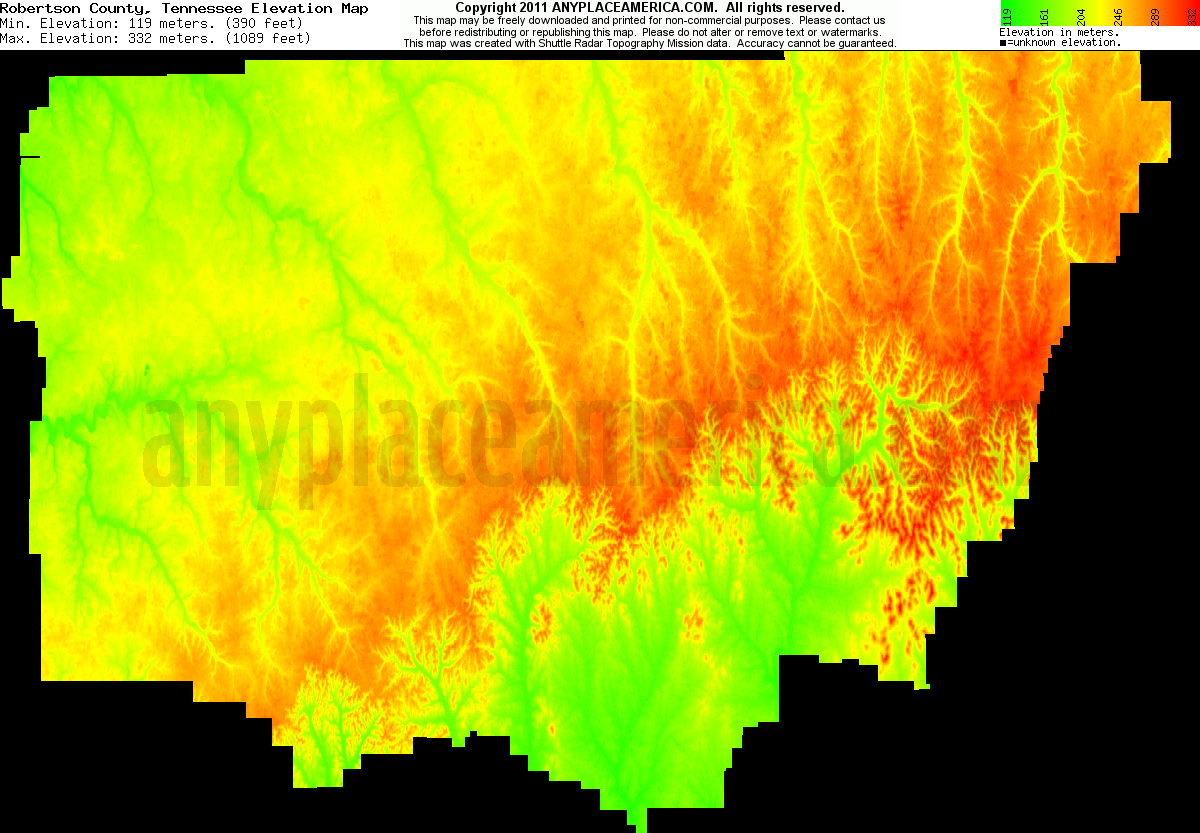 Robertson, Tennessee elevation map