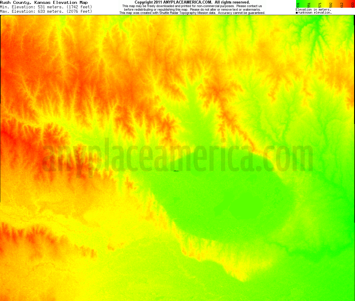 Kansas rush county liebenthal - Download Rush County Elevation Map