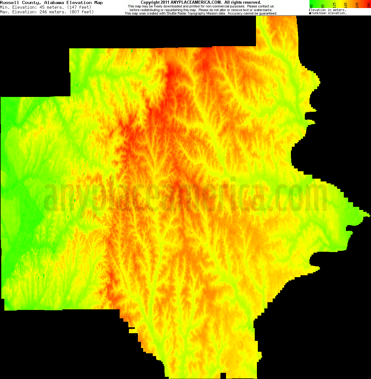 Alabama russell county hatchechubbee - Download Russell County Elevation Map