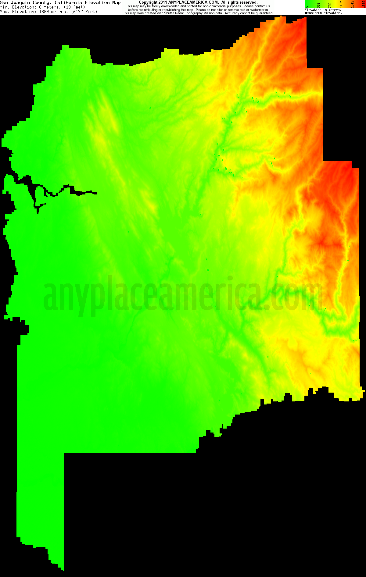 Download San Joaquin County Elevation Map