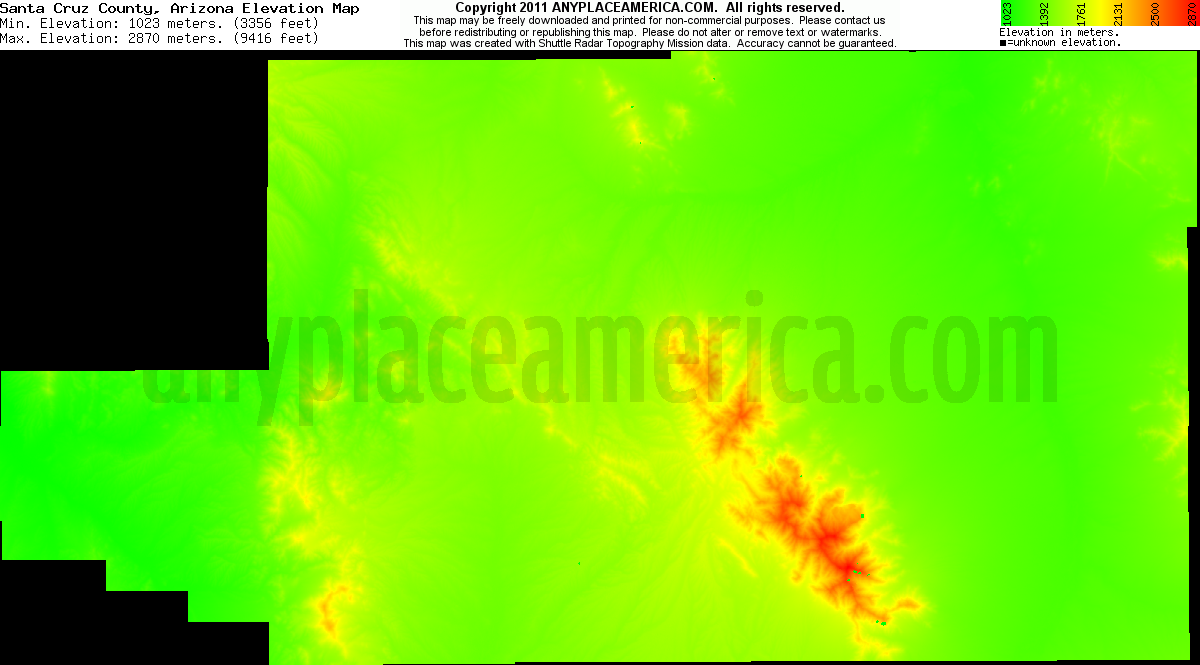 Santa Cruz, Arizona elevation map