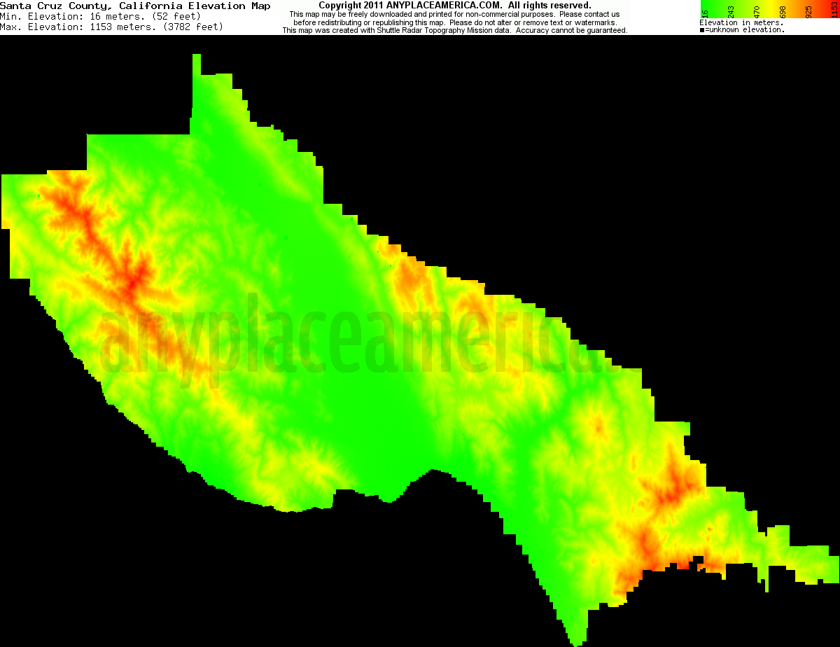 Free Santa Cruz County California Topo Maps Elevations - Elevation map of california