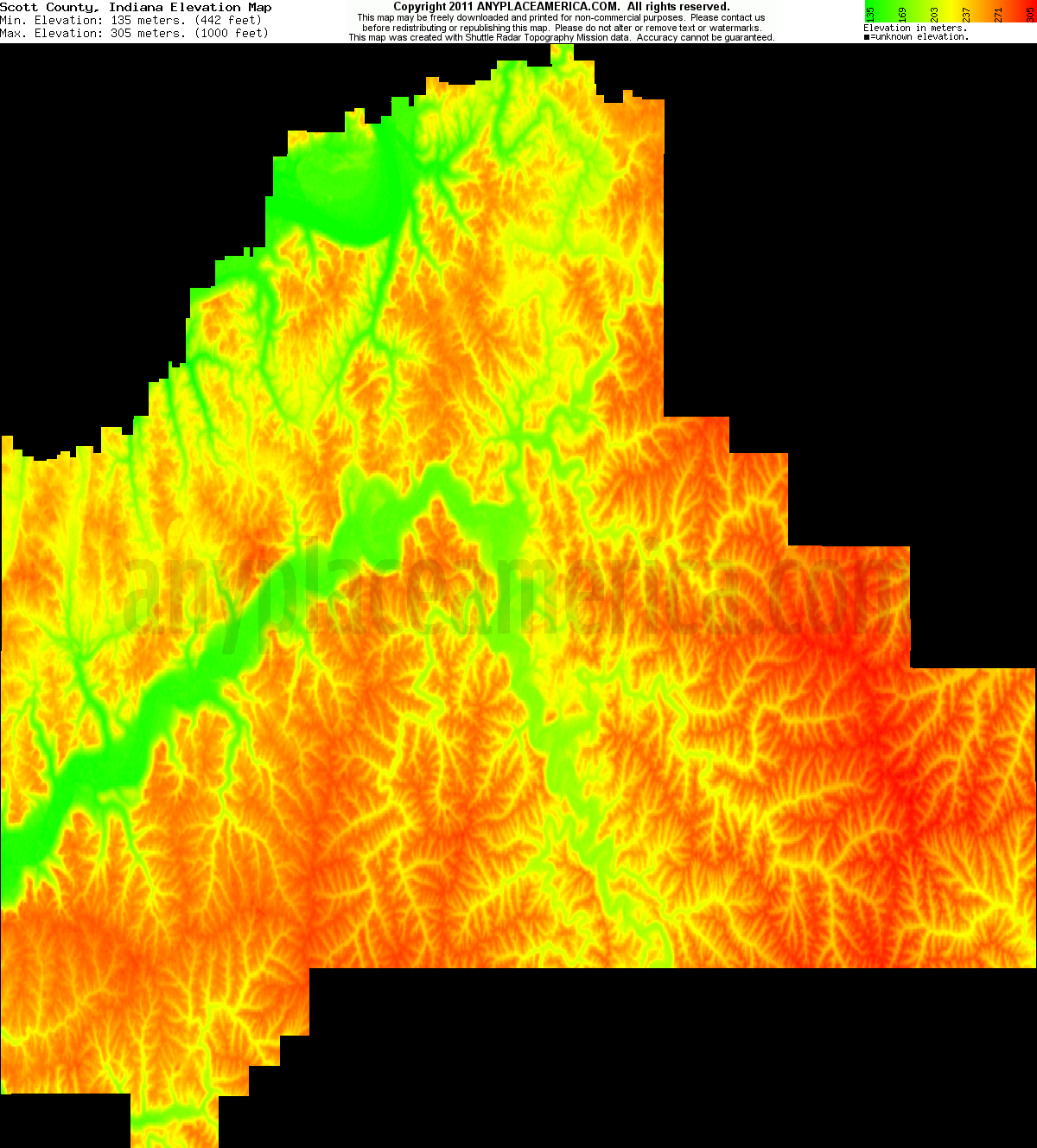 Scott, Indiana elevation map