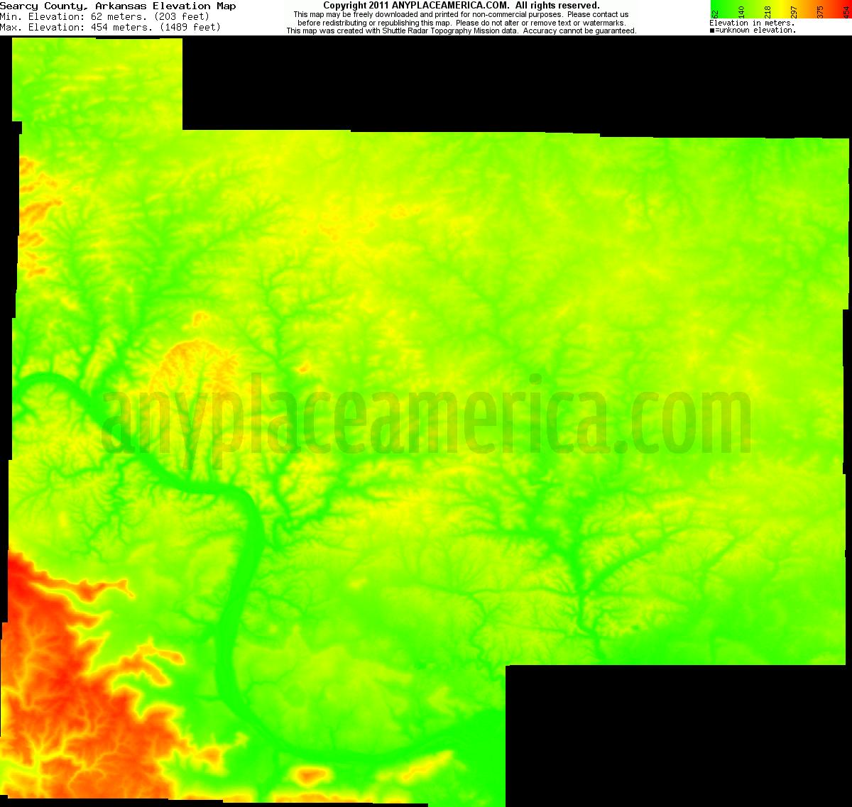 Elevation Of Washington County Ar Usa: Free Searcy County, Arkansas Topo Maps & Elevations