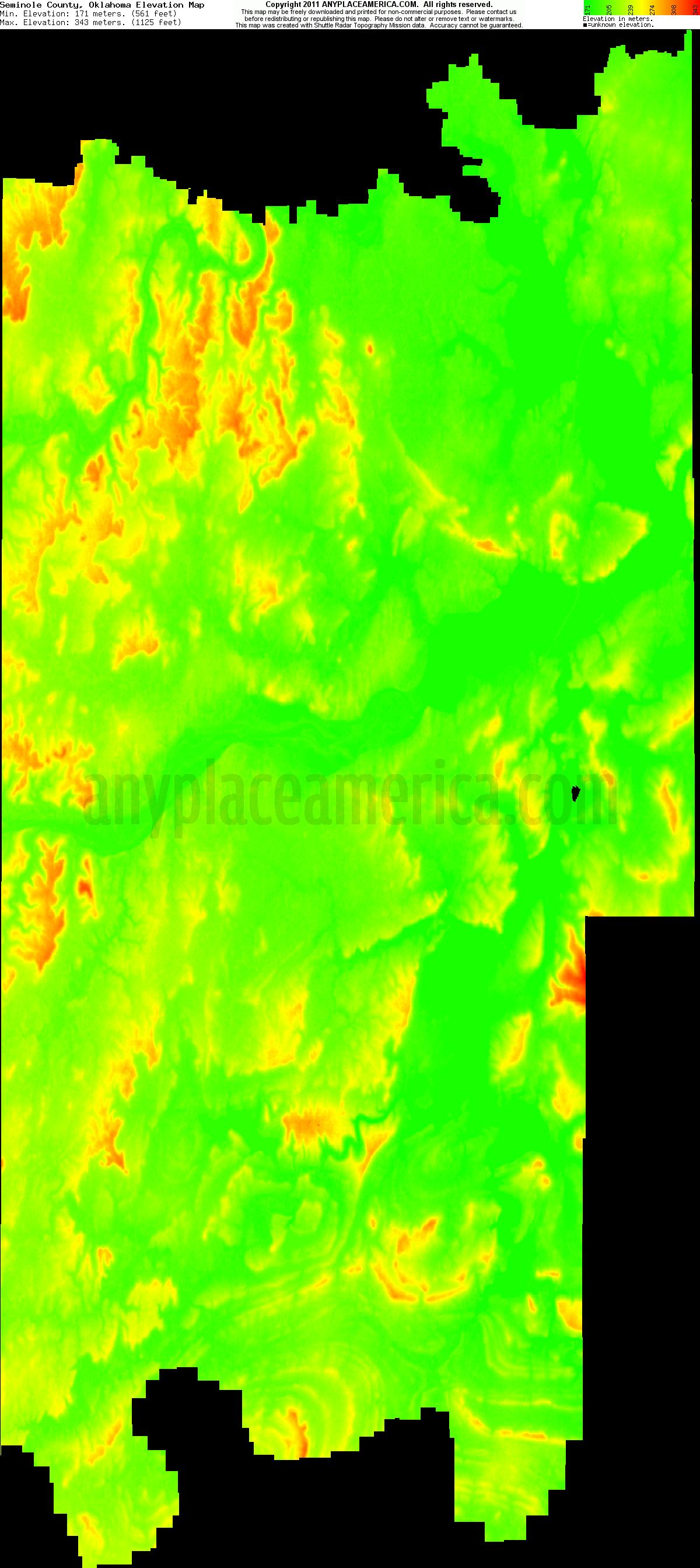 Seminole, Oklahoma elevation map