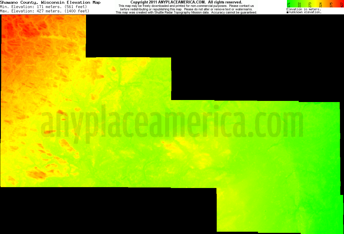Download Shawano County Elevation Map