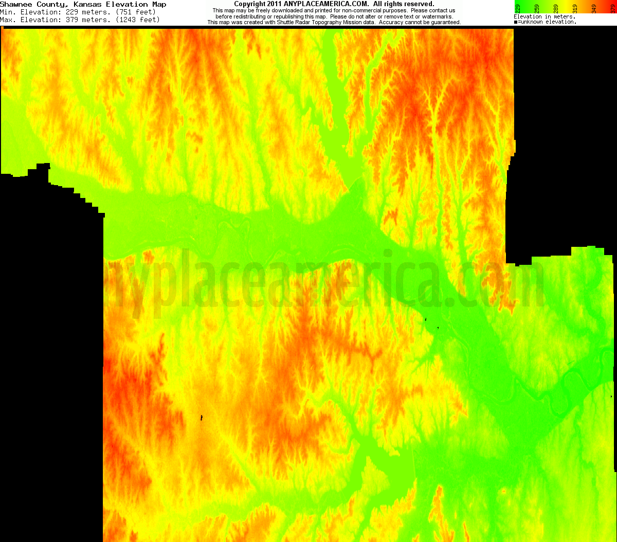 Download Shawnee County Elevation Map
